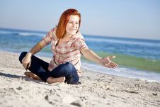 Free Happy Red-haired Girl At The Beach. Royalty Free Stock Photo - 17021175