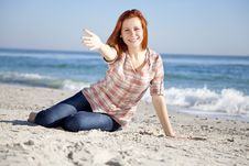 Free Happy Red-haired Girl At The Beach. Royalty Free Stock Image - 17021186
