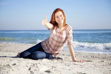 Free Happy Red-haired Girl At The Beach. Stock Photos - 17021193