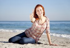 Free Happy Red-haired Girl At The Beach. Royalty Free Stock Image - 17021216