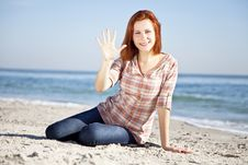 Free Happy Red-haired Girl At The Beach. Stock Images - 17021254