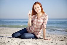 Free Happy Red-haired Girl At The Beach. Stock Image - 17021261