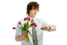 Free Man With Tulips Stock Photos - 17021263