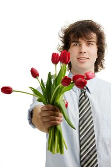 Free Man With Tulips Royalty Free Stock Photo - 17021295