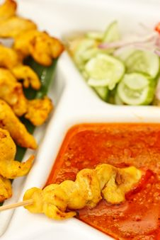 Satay, One Of Most Famous Thai Food Royalty Free Stock Images