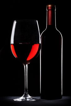 Free Red Wine Bottle And Glass Silhouette Royalty Free Stock Images - 17021449