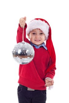 Free Santa Kid Holding A Disco Ball Royalty Free Stock Photography - 17022507