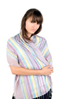 Free Girl Covered In Colorful Scarf Royalty Free Stock Photos - 17023018