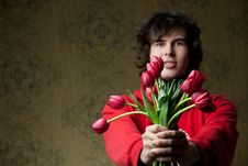 Free Young Man With Tulips Royalty Free Stock Photos - 17023908