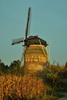 Dutch Windmill In The Morning Light Stock Images