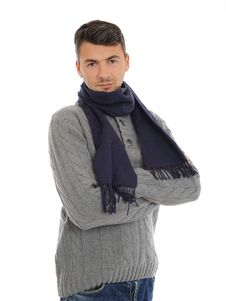 Free Handsome Casual Man In Winter Hat And Warm Clothes Royalty Free Stock Photos - 17024398