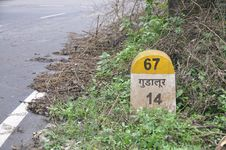 Free Gudalur Milestone On NH 67 Royalty Free Stock Photography - 17024497
