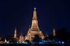 Free Temple Of Dawn (Wat Arun) At Night Stock Image - 17025291