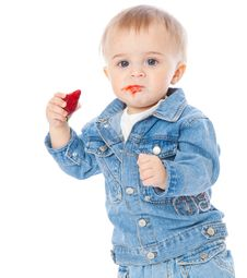 Free Boy With Strawberry Stock Image - 17025421