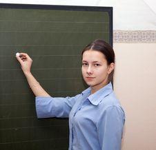 Girl Schoolgirl Wrote In Chalk Stock Images