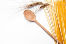 Ear Of Wheat, Pasta And Wooden Spoon Stock Photography