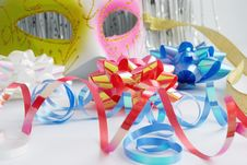 Free Carnival Mask And Decorative Bows Stock Images - 17026524