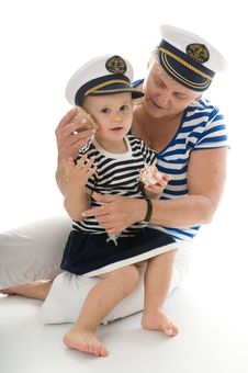 Free Captain Woman In Studio With Baby Stock Photo - 17027710