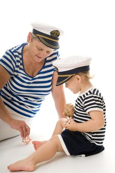 Free Captain Woman In Studio With Baby Stock Image - 17027731