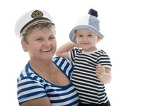 Free Captain Woman In Studio With Baby Stock Photography - 17027762