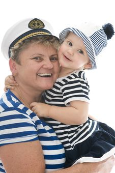 Free Captain Woman In Studio With Baby Royalty Free Stock Photos - 17027788