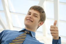 Free Young Businessman Thumbs Up Stock Image - 17027831