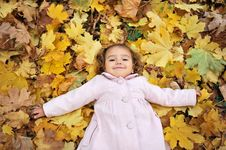 Free Girl On The Leaves Royalty Free Stock Images - 17027859