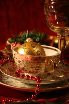 Free Christmas Table Set Royalty Free Stock Photo - 17027895
