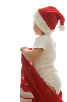 Free Little Girl Is Waiting Santa Claus In His Bag Royalty Free Stock Photo - 17028085
