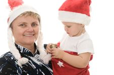 Grandmother With A Grandchild In The Studio Stock Image
