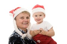 Grandmother With A Grandchild In The Studio Royalty Free Stock Photo