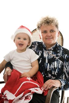 Grandmother With A Grandchild In The Studio Stock Photos