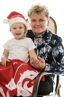 Grandmother With A Grandchild In The Studio Royalty Free Stock Images