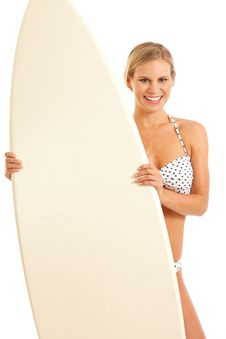 Free Woman With Surfboard Stock Photography - 17028362
