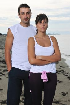 Free Happy Young Couple Have Fun At Beautiful Beach Stock Photography - 17028422