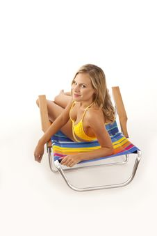 Free Young Woman Relaxing In Beach Chair Stock Photos - 17028643