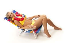 Free Young Woman Relaxing In Beach Chair Stock Images - 17028674