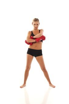 Free Young Woman With Red Boxing Gloves Stock Images - 17028724