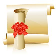Free Scrolls With Red Gift Bow Stock Photography - 17028892