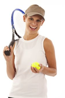 Young Woman With Tennis Racket And Ball Royalty Free Stock Photo