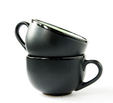 Two Black Cups Stock Images