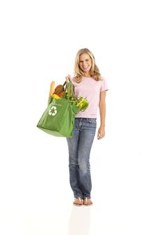 Free Young Woman With Groceries Stock Photography - 17029062