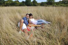 Free Happy Couple Enjoying Countryside Picnic Royalty Free Stock Images - 17029089