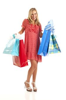 Free Young Woman With Shopping Bags Stock Photography - 17029282