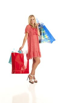 Free Young Woman With Shopping Bags Royalty Free Stock Images - 17029299