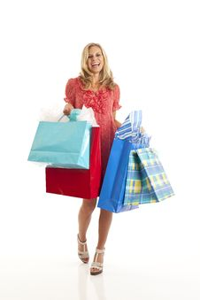 Free Young Woman With Shopping Bags Royalty Free Stock Photo - 17029315