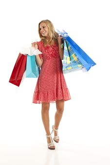 Free Young Woman With Shopping Bags Royalty Free Stock Images - 17029339