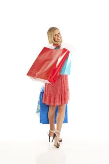 Free Young Woman With Shopping Bags Stock Image - 17029351