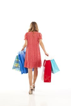 Free Young Woman With Shopping Bags Royalty Free Stock Photos - 17029368