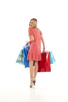 Free Young Woman With Shopping Bags Stock Photography - 17029382